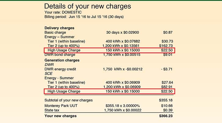 Example of how the High Usage Charge will appear on your bill